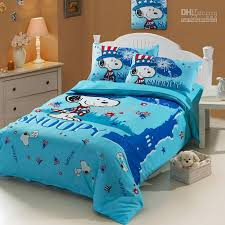 blue snoopy baby boy girl cartoon kids duvet cover sheet set cotton single twin size bed children bedding set gifts erfly bedding black and