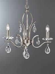 fl2298 3 willow 3 light chandelier with crystal drops satin nickel