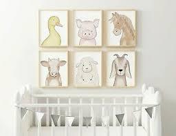 nursery farm animal print set baby