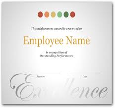 Employee Recognition Certificate Template Excellence Award