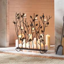fireplace screens with candle holders