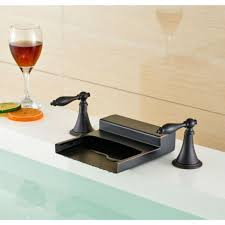 waterfall deck mount dual long handle finish brass bathroom sink faucet oil rubbed bronze