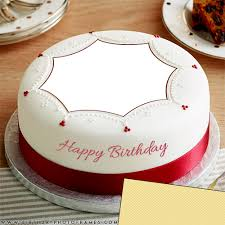 Happy Birthday Cake With Edit Name And Photo