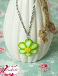 miss lovett handgefertigte 50s rockabilly kleidung neck 28s green flower polymer clay necklace
