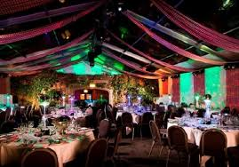 Kensington Roof Gardens Christmas Party W8, colourful tent style roof large  round tables laid for