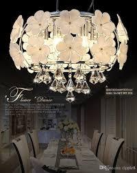 best fog white glass flower chandeliers simple and crystal chandeliers ceiling lights petals dual suspension wedding bedroom lights under 184 93
