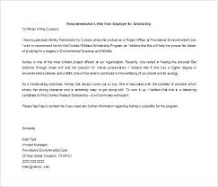 free recommendation letter for scholarship from employer how