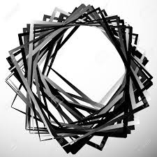 Geometric Overlapping Intersecting Shapes Abstract Grayscale