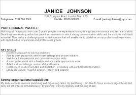 Resume Profiles Examples Englishor Com