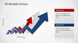 Chart Showing Increase 3d Arrow Progress Diagram Template For Powerpoint