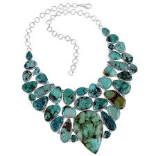sterling silver and turquoise bib necklace natural gemstone jewelry necklace loading zoom
