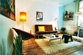 modern apartment living room design. Mid Century Modern Apartment Living Room Black Sofa Wooden Coffee Table Large Frameless Mirror Blue Sky Design G