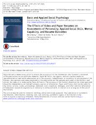 The Effects of Video and Paper Resumes on Assessments of Personality,  Applied Social Skills, Mental Capability, and Resume Outcomes (PDF Download  Available)