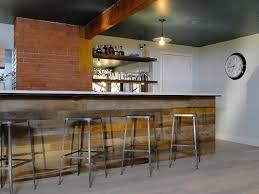 Interior:Reclaimed Wood Bar Paneling For Basement Bar Also Brick Wall Over  Glass Bulb Hanging