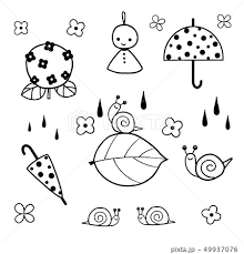 雨 傘 梅雨 手描きのイラスト素材 Pixta