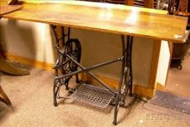 Oak-top Table with Cast Iron Sewing Machine Base