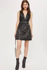 top star studded leather mini shift black dress
