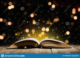 Are Your Lights On Book Open Magic Book On A Wooden Table With Glitter And Bokeh