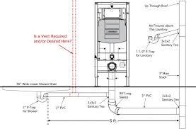 shower drain wall hung toilet plumbing