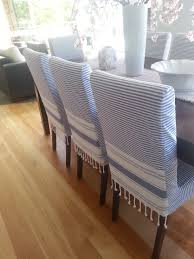 blue and white chairs covers may be made from turkish peshtemal towel pestemal dii peshtemal fanta hammam dining chair slipcovers22