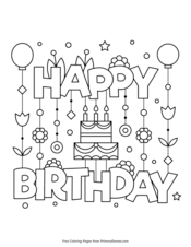 Of course, you can choose from the many themes of this website, but you can also use pictures of the theme birthday ! Happy Birthday Coloring Pages Free Printable Pdf From Primarygames
