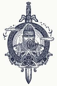 Fototapeta Viking Tetování A Tričko Design Vousatý Barbar Ze Skandinávie