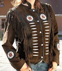 classyak women western leather jacket with fringes bones supreme quality