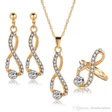 bridal jewelry set crystal long necklace infinite earrings gold color rings 2017 simple design wedding jewelry for woman african jewelry sets jewelry set