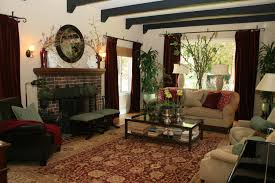 ... Interior Amazing Classic Spanish Style Of Living Room Design With Stone  Fireplace Red ...