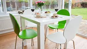 fern kitchen white gloss dining table and coloured dining chairs fearne cotton noisy kitchen