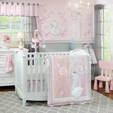 For your gorgeous little baby girl, how about a pink crib bedding as the  centerpiece of your nursery with gray curtains and carpet?