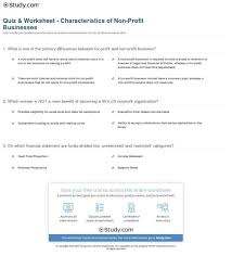 Quiz Worksheet Characteristics Of Non Profit Businesses Study Com ...