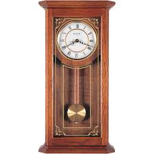 bulova 26 in x 12 25 in pendulum wall clock