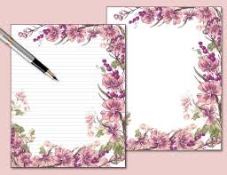 Paper With Flower Border Flower Border Printable Lined Stationery 8 X 10 Ruled Digital Writing Paper Instant Download Floral Note Paper Matching Envelope Wp066