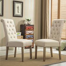 copper brown grove slader solid wood tufted parsons dining chairs set of 2 tan