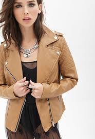 tan leather biker jackets forever 21 quilted faux leather jacket