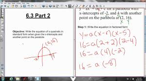 6 3 writing the equation in standard form when given the graph