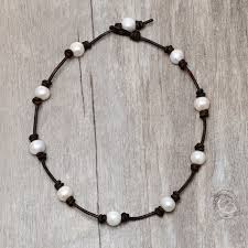 aobei pearl handmade necklace or bracelet on pearl leather cord pearl necklace pearl choker ets s151 1