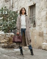 timeless checked trench coat h and m mango aria di bari french street style fashion blogger marks spencer raw hem jeans fall winter outfit editorial
