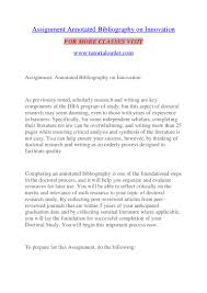 Assignment Annotated Bibliography On Innovationtutorialoutletdotcom