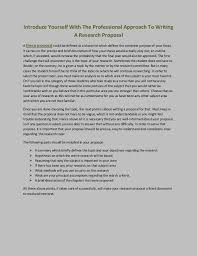 introduce yourself the professional approach to writing a resear introduce yourself the professional approach to writing a research proposal a thesis proposal could be