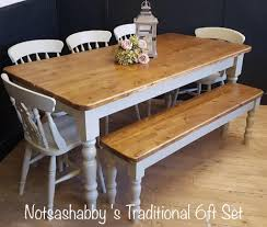 beautiful new handmade 6ft pine farmhouse table bench and chairs