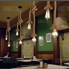 rope chandelier hemp rope chandelier retro antique rustic industrial bar restaurant coffee creative dangling lamp vintage kitchen rope light chandelier