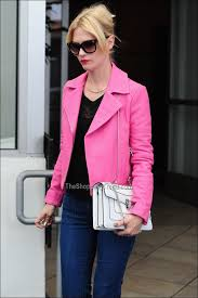 january jones j brand pink jacket