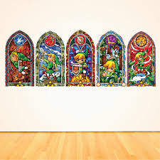 all 5 zelda stained glass wall decal sticker windmaker wall decals sticker kids bedroom decal designs zelda mural stickers s75