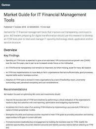 Gartner Market Guide For It Financial Management Tools Apptio
