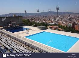 olympic swimming pool background. Barcelona Olympic Swimming Pool With City Of In Background