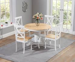 3 regis oak and white 120cm round dining table with 4 chairs jpg