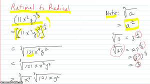 rewrite an expression with rational exponents as a radical expression and vice versa