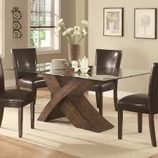 glass top dining table with wood base esrogim wood and glass glass top dining